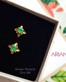 Aretes Green Miracle - Oro 18k