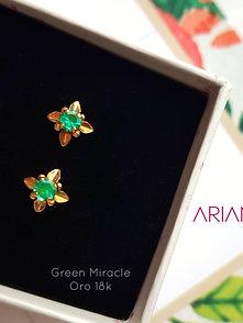 Aretes Green Miracle - Oro 18k