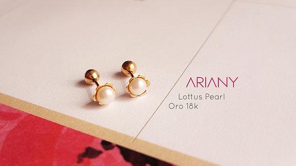 Aretes Lottus Pearl - Oro 18k