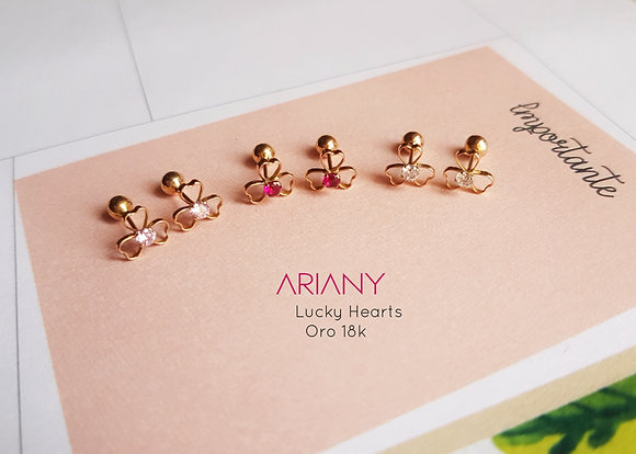 Aretes Lucky Hearts - Oro 18k