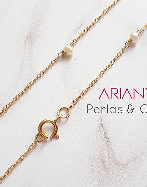 Cadena Satélite Perlas - Oro 18k