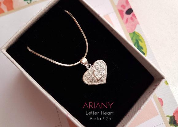 Cadena Letter Heart - Plata 925