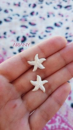 Arete Estrella de Mar Texturada  - Plata 925