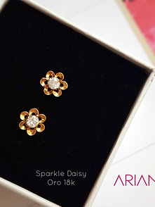 Aretes Sparkle Daisy - Oro 18k