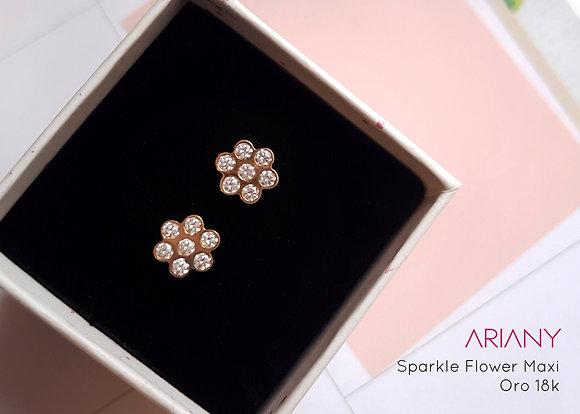 Aretes Sparkle Flowers - Oro 18k