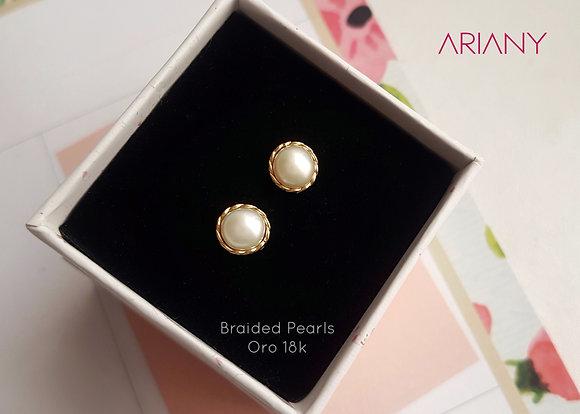 Aretes Braided Pearls - Oro 18k