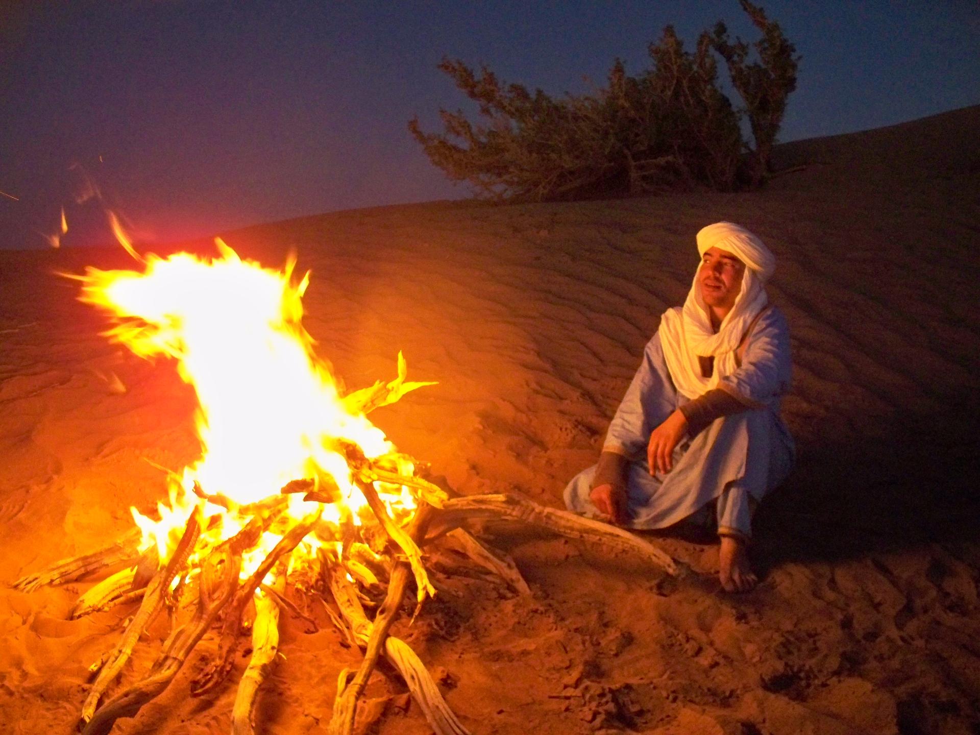 camp fire desert Morocco