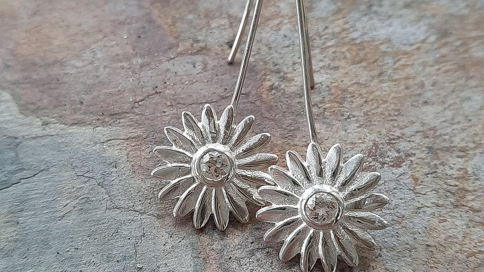 Morganite Daisy Earrings in Sterling Silver