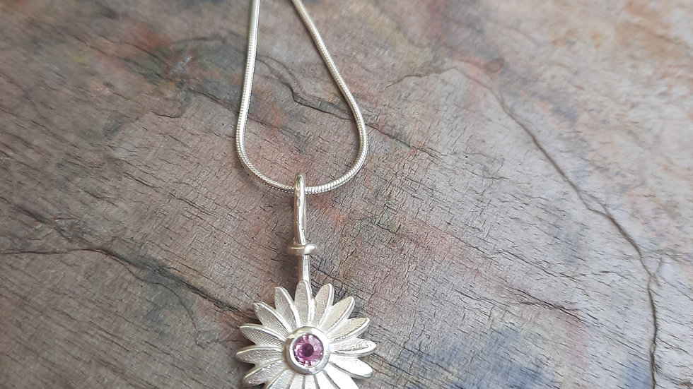 Pink Sapphire Daisy Pendant Necklace in Silver 925