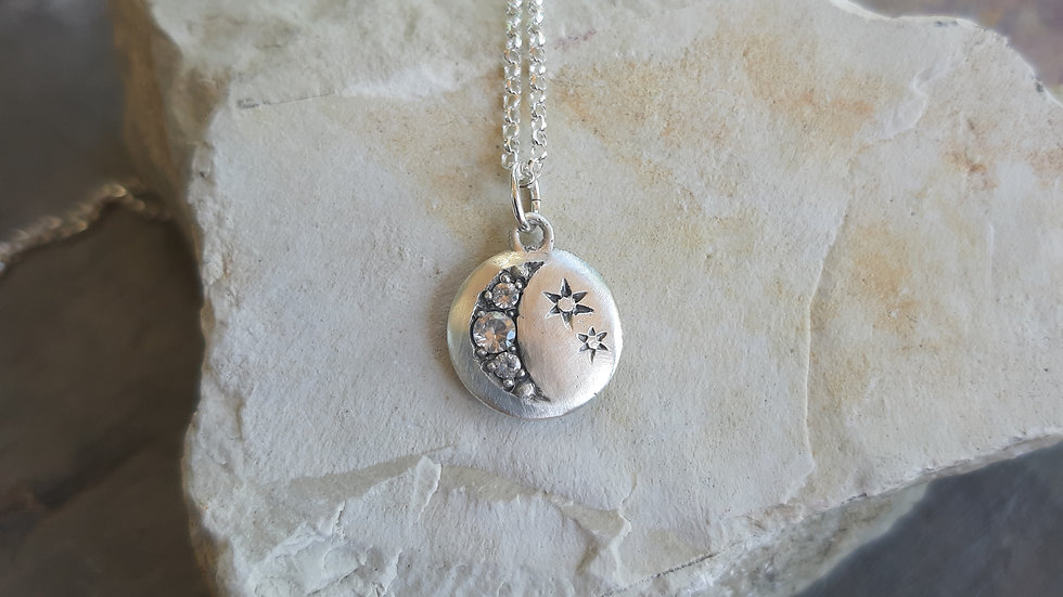 """Moon & Stars Pendant & chain  from the """"In the Sky"""" collection"""