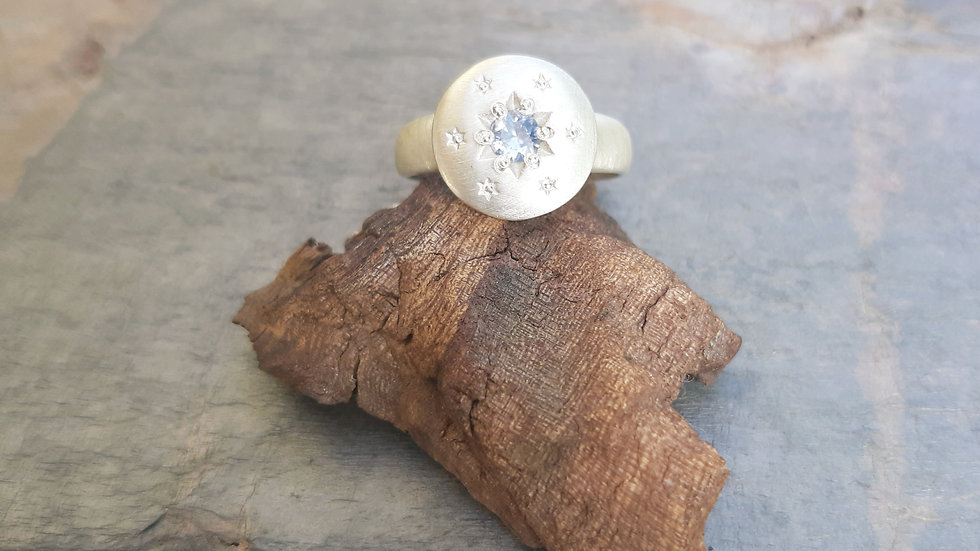 """Silver Sapphire Star ring from the """"In the Sky"""" collection"""