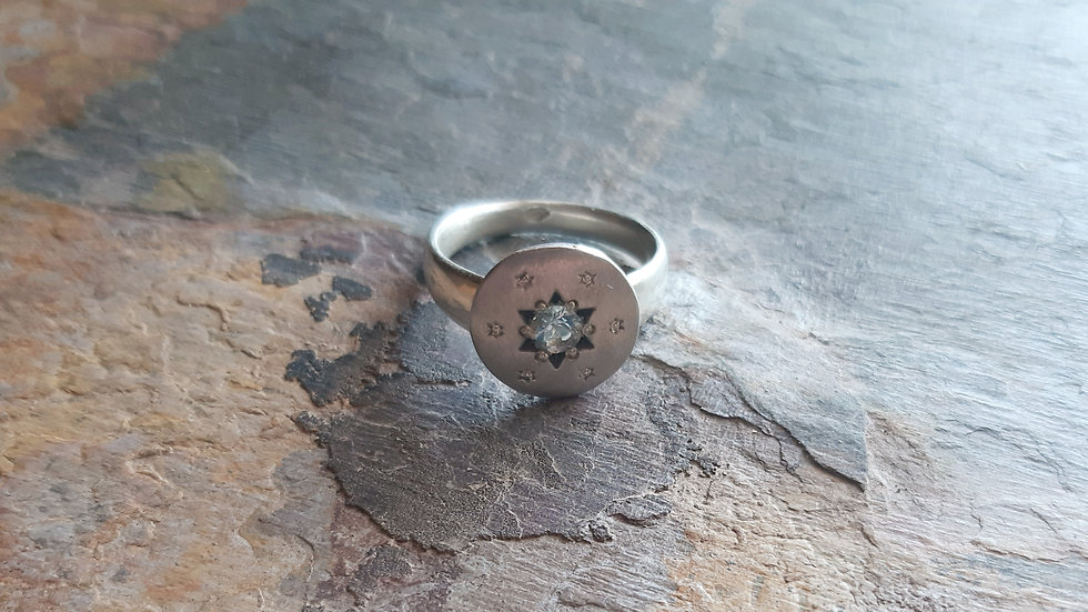 """Silver Aquamarine Star ring from the """"In the Sky"""" collection"""