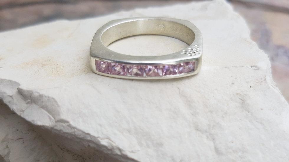 Ceylon princess cut pink Sapphire Ring