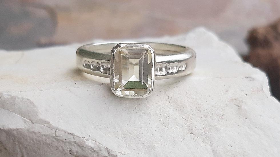 """Stella"" natural lemon quartz Sterling silver ring"