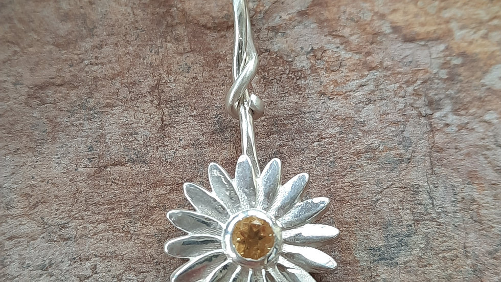 New Spring Citrine Daisy Pendant in Sterling Silver