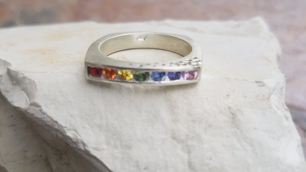 Silver Rainbow Sapphire ring, with all the Rainbow colours in natural Sapphires