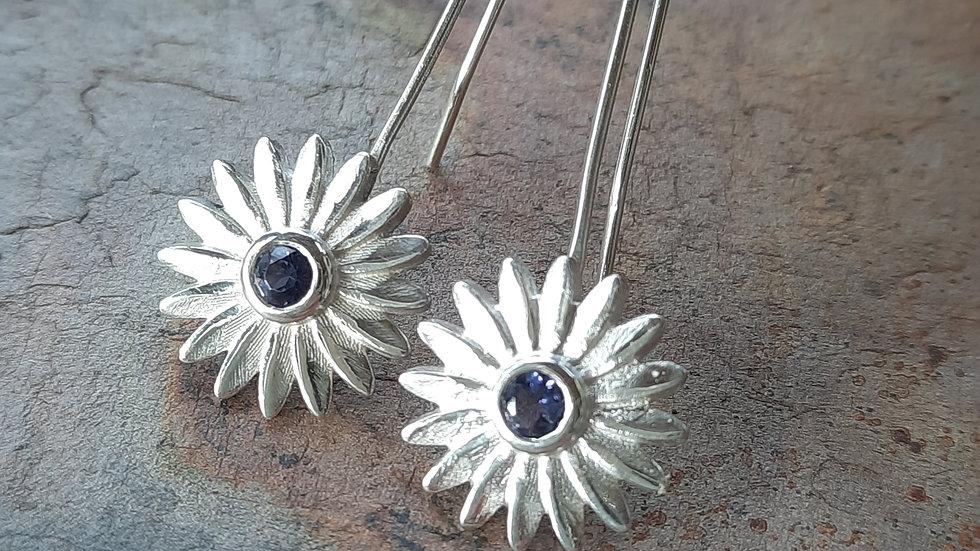 Beautiful blue Iolite Daisy Earrings