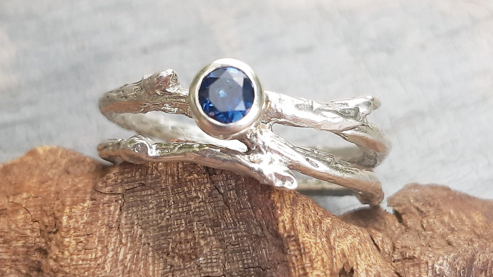 """""""The Twig ring"""" with a stunning blue Sapphire"""