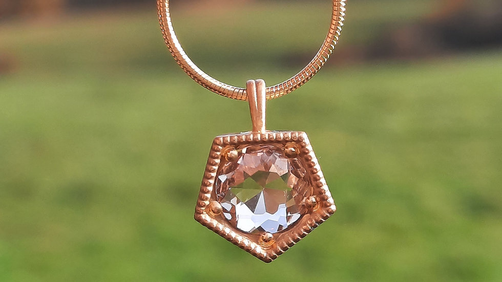 Morganite Pendant/Necklace in Rose gold vermeil
