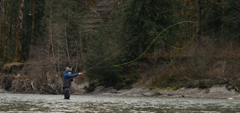 RED Raven 4.5k frame grab of a fly fishmans loop from his spey cast