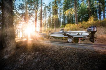 Nitro bass boat with Mercury outboard motor in North Idaho with minnkota trolling motor