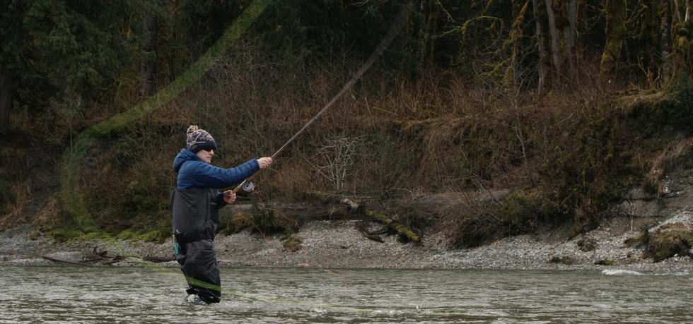 RED Raven 4.5k frame grab of a fly fisherman castin down a river