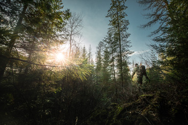 Turkey hunter walking through timber in Idaho wilderness wearing sitka gear subalpine camo and mystery ranch backpack