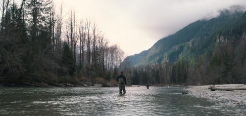 RED Raven 4.5k frame grab of fly fisherman casting in river