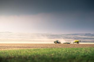 John Deere air drill seeding spring wheat