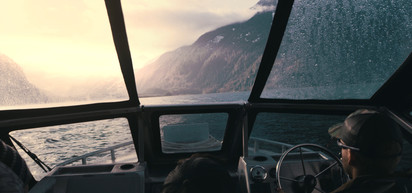 RED Raven 4.5k frame grab from inside a Firefish jet boat driving across the Bute inlent in Canada