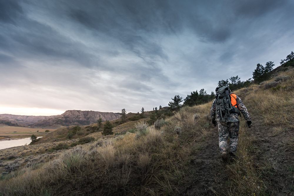 Sheep hunter walking up old trail in the Missouri river breaks wearing sitka gear camo and mystery ranch pack