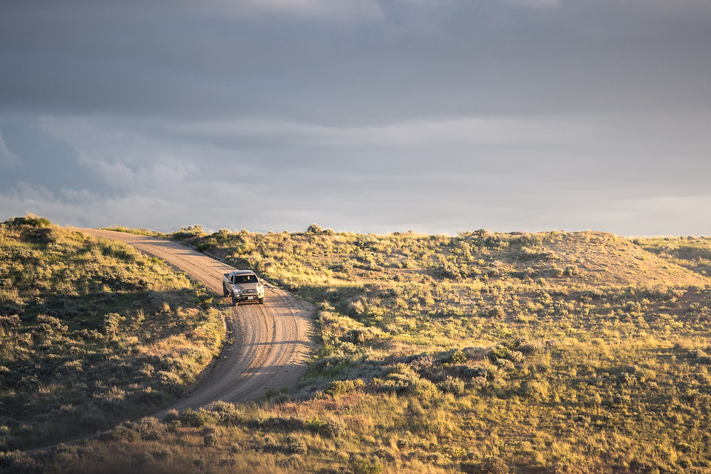 Toyota Tacoma TRD Offroad Tan driving down road in Wyoming