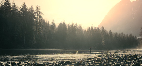 RED Raven 4.5k frame grab of a fly fisherman casting down a river with a big loop on a spey switch rod backlit by sun