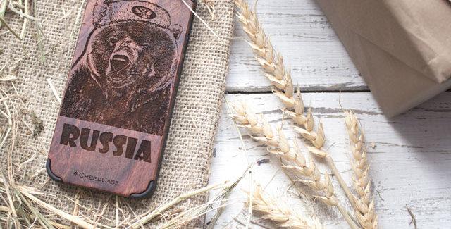 Чехол Мишка Russia (на IPhone 5/5S/6/6S)