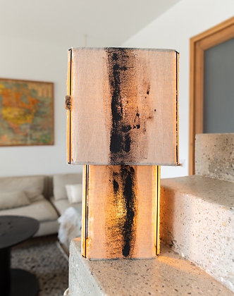 Lampe double Veracruz // lin brut peint - Collection ABSTRAIT