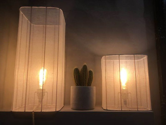 Lampe rectangle // Voile de lin - Collection INDOCHINE