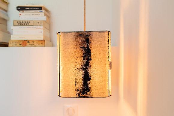 Suspension rectangle // Lin brut peint - Collection ABSTRAIT