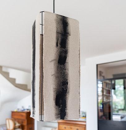 Suspension tube // Lin brut peint - Collection ABSTRAIT