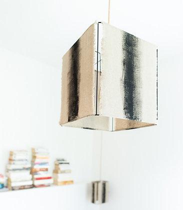 Suspension carrée // Lin brut peint - Collection ABSTRAIT