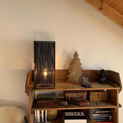 Lampe tube// Lacet noir - Collection STRAIGHT