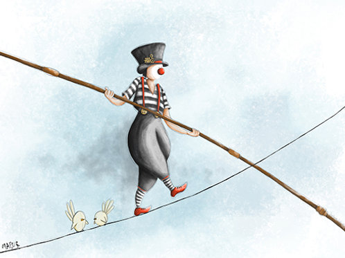 MIME ON THE ROPE - Mini Illustration