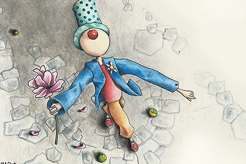 PN CLOWN WITH A FLOWER - Mini Illustration