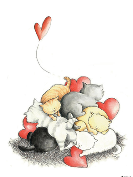 PILE OF KITTEN - Mini Illustration