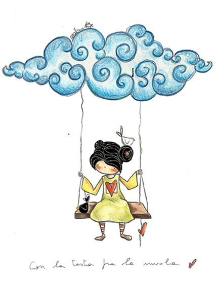 WITH THE HEAD IN THE CLOUD - Mini Illustration