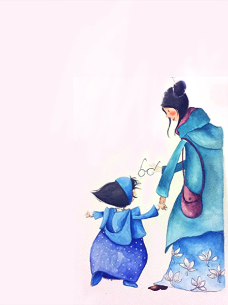 MUM AND DAUGHTER -HOMENAGE A R.DAUTREMER - Original Watercolour Painting