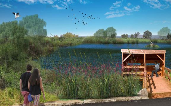 פארק עין נמפית-נחל נעמן-אגם צפוני-הדמיה.
