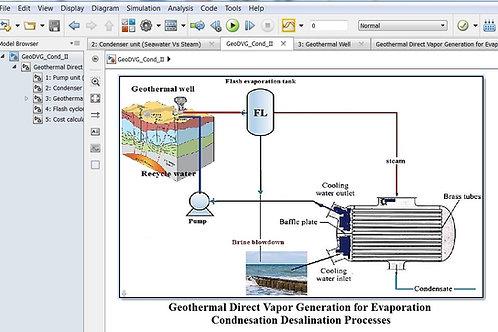 Geothermal DVG-Flashing Condensation Desalination
