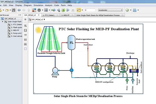 Solar PTC Flashing for Multi Effect Distillation Desalination