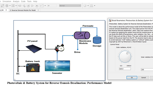 Photovoltaic/Battery for Reverse Osmosis Desalination: Performance Model