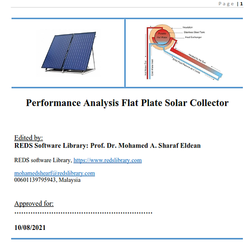 Flat Plate Solar Collector: The Report I